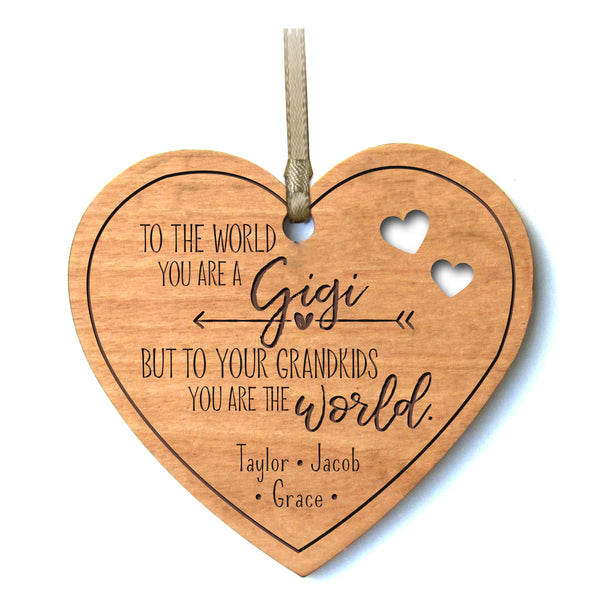 Personalized Mother's Day Heart Ornament Gift - To The World Gigi