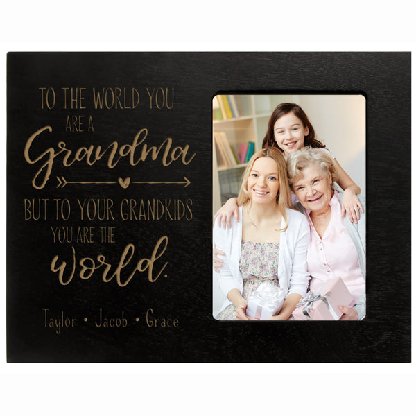 "Personalized Mother's Day Frame 4"" x 6"" Photo to The World Grandma Black"
