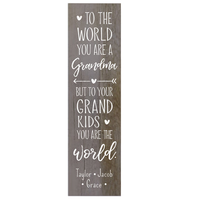 "LifeSong Milestones Personalized Mother's Day Gift From Son, Grandson, Nephew Solid Wood Plaques Family Keepsake 6""x22.5"" to The World"