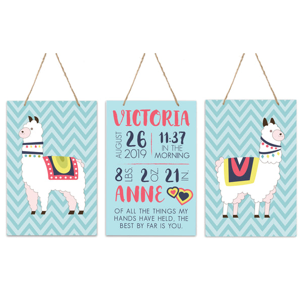3 Piece Decoration Wall Hanging Sign Set Gift - Llamas