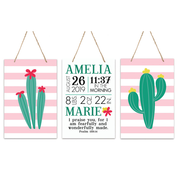 3 Piece Decoration Wall Hanging Sign Set Gift - Cactus
