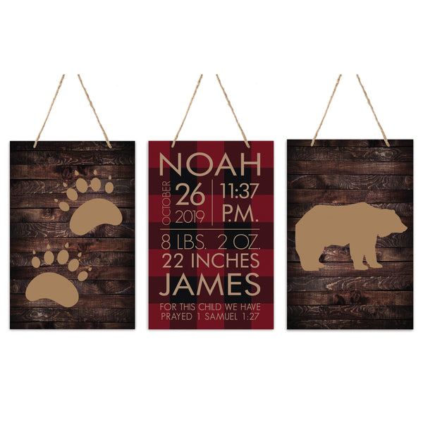 3 Piece Decoration Wall Hanging Sign Set Gift - Paw Prints