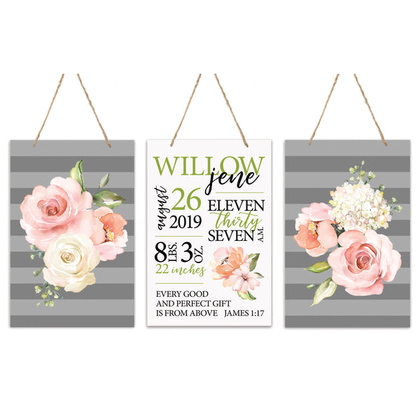 3 Piece Decoration Wall Hanging Sign Set Gift - Flowers