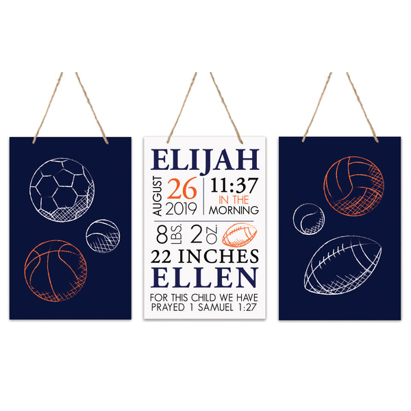 3 Piece Decoration Wall Hanging Sign Set Gift - Black Sports
