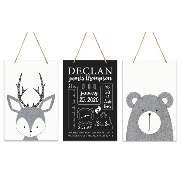 3 Piece Decoration Wall Hanging Sign Set Gift - Deer