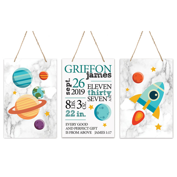 3 Piece Decoration Wall Hanging Sign Set Gift - Planets