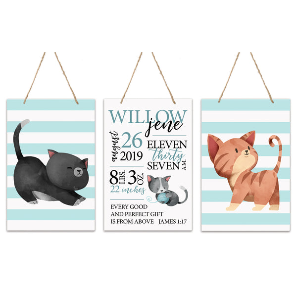 3 Piece Decoration Wall Hanging Sign Set Gift - Cats