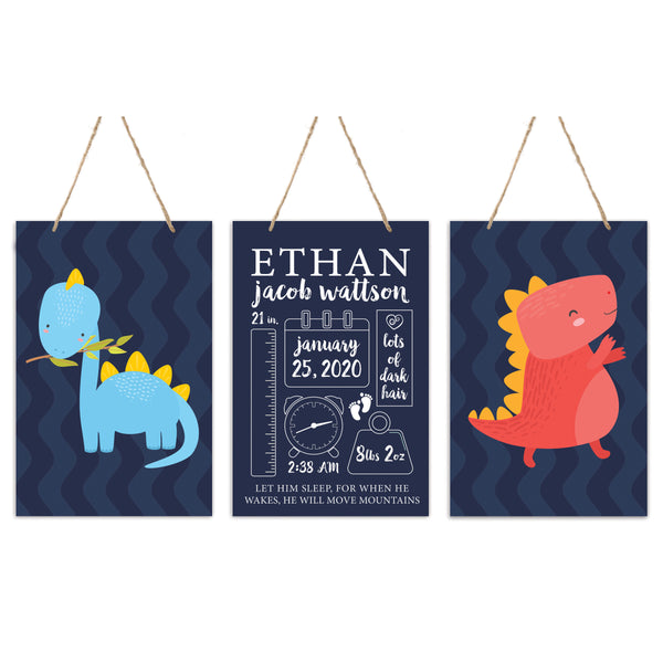 3 Piece Decoration Wall Hanging Sign Set Gift - Dinosaurs