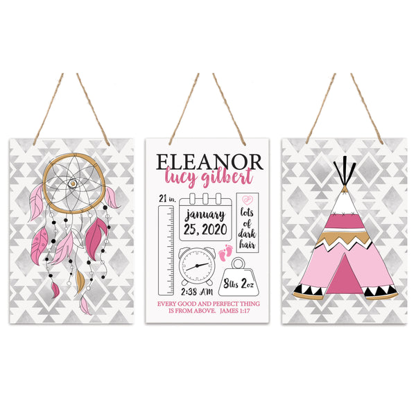 3 Piece Decoration Wall Hanging Sign Set Gift - Dream Catcher