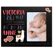 "LifeSong Milestones Personalized Alpaca Nursery Picture Frame Decor for Boys and Girls 8"" x 10"" Frame Holds 4"" x 6"" Photo"