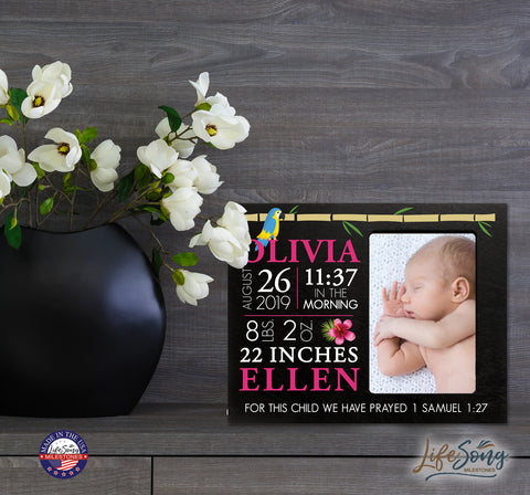 Personalized Nursery Baby Birth Stats Picture Frame - Tropical