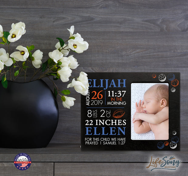 Personalized Nursery Baby Birth Stats Picture Frame - Sports