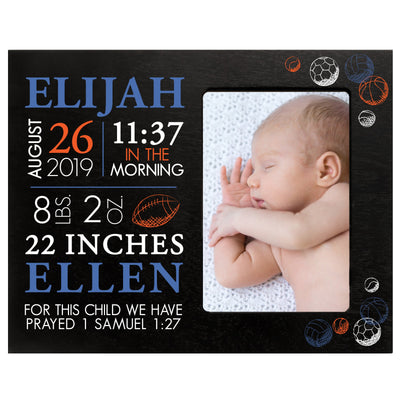 "LifeSong Milestones Personalized Sports Nursery Picture Frame Decor for Boys and Girls 8"" x 10"" Frame Holds 4"" x 6"" Photo"