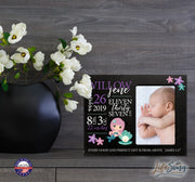Personalized Nursery Baby Birth Stats Picture Frame - Mermaid