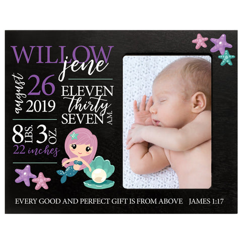 "LifeSong Milestones Personalized Mermaid Nursery Picture Frame Decor for Boys and Girls 8"" x 10"" Frame Holds 4"" x 6"" Photo"