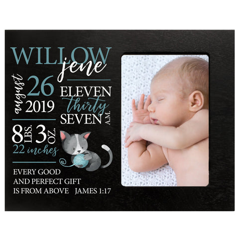 "LifeSong Milestones Personalized Kitten Nursery Picture Frame Decor for Boys and Girls 8"" x 10"" Frame Holds 4"" x 6"" Photo"