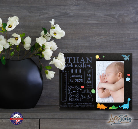Personalized Nursery Baby Birth Stats Picture Frame - Dinosaur