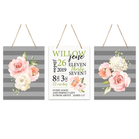Lifesong Milestones Personalized Nursery 3 Piece Decor For Boys and Girls Bedroom Flowers Wall Hanging Sign Set  For Children 12x15