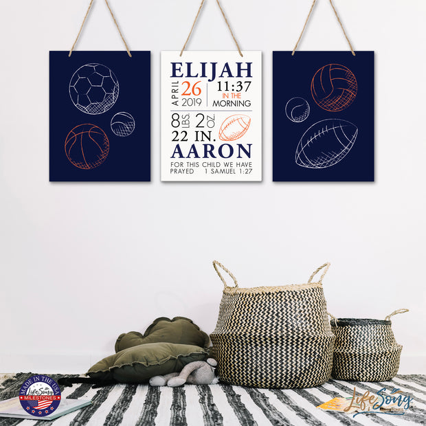 Personalized Baby Birth Arrival Stats Nursery Sign Set - Sports