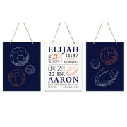 Lifesong Milestones Personalized Nursery 3 Piece Decor For Boys and Girls Bedroom Sports Wall Hanging Sign Set  For Children 12x15