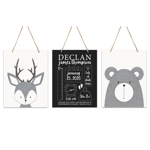 Lifesong Milestones Personalized Nursery 3 Piece Decor For Boys and Girls Bedroom Animals Wall Hanging Sign Set  For Children 12x15
