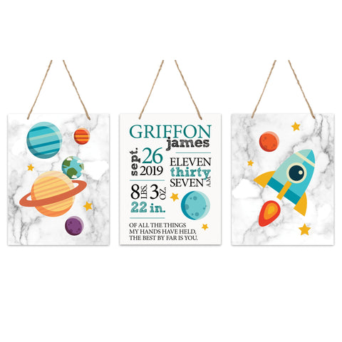 Lifesong Milestones Nursery 3 Piece Decor For Boys and Girls Bedroom Space Wall Hanging Sign Set  For Children 12x15