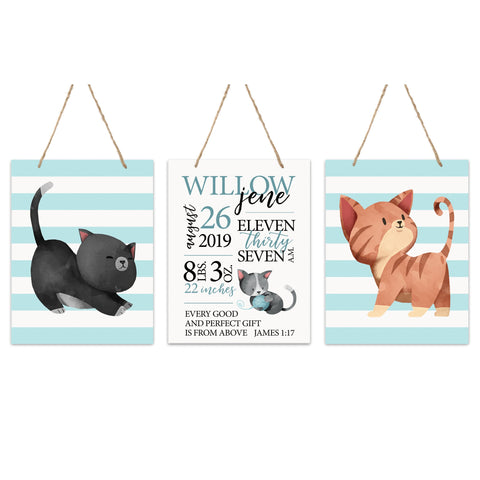 Personalized Baby Birth Arrival Stats Nursery Sign Set - Cats