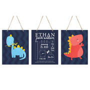 Lifesong Milestones Personalized Baby Birth Arrival Announcement - Newborn Stats Nursery 3 Piece Decor For Boys and Girls Bedroom Dinosaur Wall Hanging Sign Set For Children 12x15