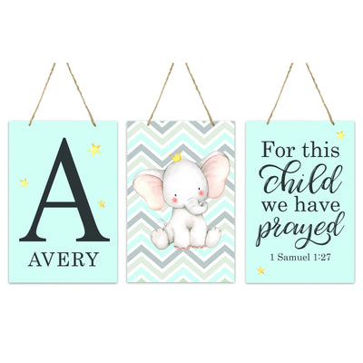 "LifeSong Milestones Personalized Baby Birth Arrival Announcement - Newborn Stats 3 Piece Monogram Nursery Decor for Boys and Girls Bedroom Wall Hanging Sign Set For Children 8"" x 12"""