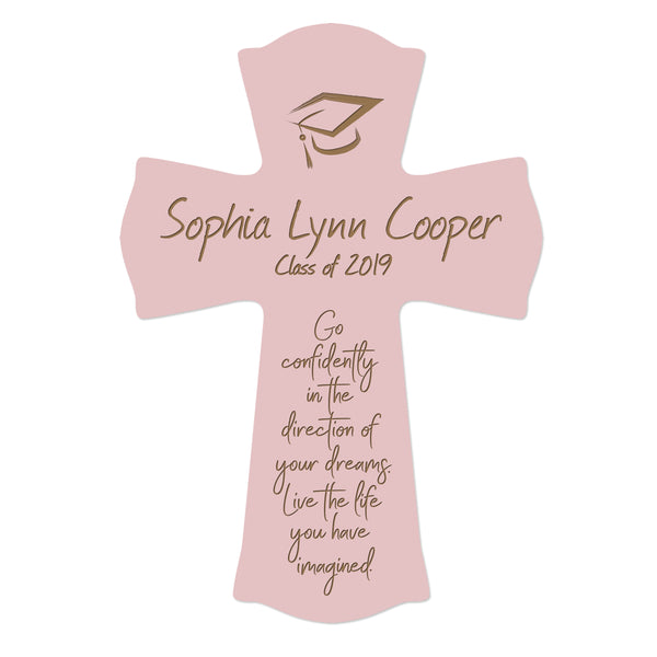 Personalized 8x11 Graduation Cross Gift For Graduate - Go Confidently