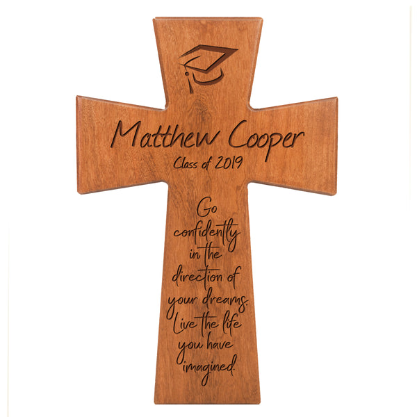 Personalized 7x11 Graduation Cross Gift For Graduate - Go Confidently