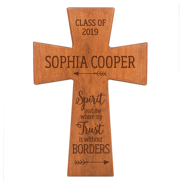 Personalized 7x11 Graduation Cross Gift For Graduate - Spirit Lead Me