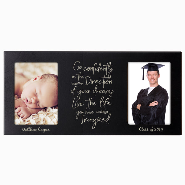 Personalized Graduation Double Photo Frame Gift - Go Confidently