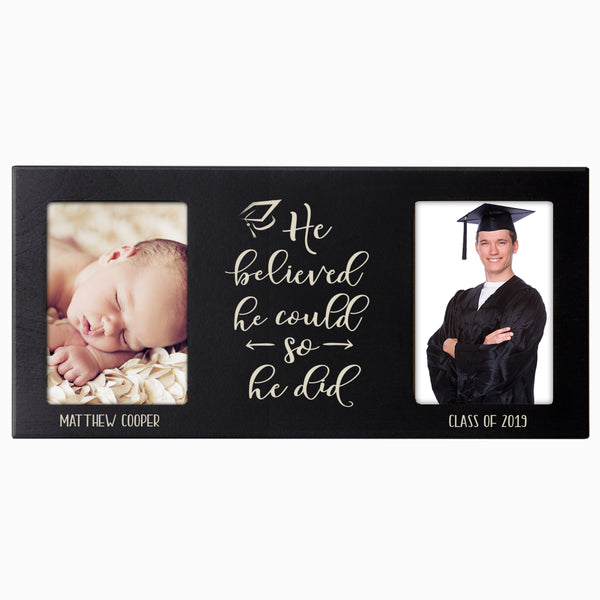 Personalized Graduation Double Photo Frame Gift - He Believed