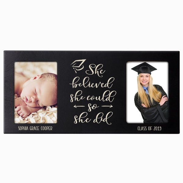 Personalized Graduation Double Photo Frame Gift - She Believed