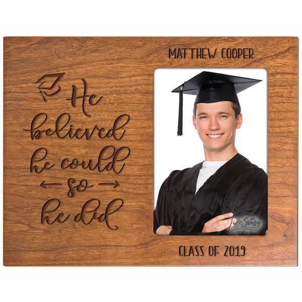 Personalized 8x10 Graduation Vertical Photo Frame Gift - He Believed