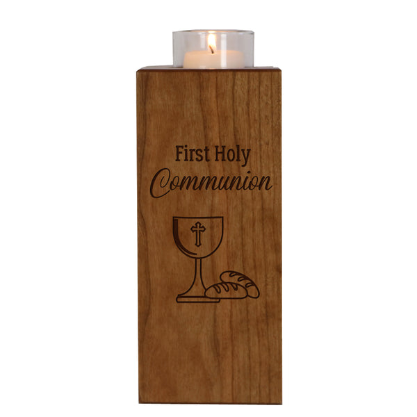 Engraved Baptism Vertical Candle Holder - First Holy Communion Cup