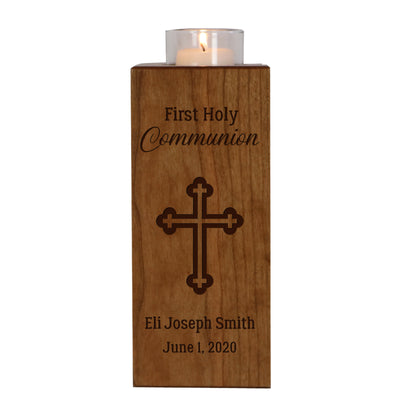 Personalized Baptism Vertical Candle Holder - First Holy Communion