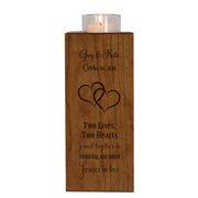 Personalized Engraved Wedding Vertical Candle Votive Holder Keepsake Two Lives Two Hearts