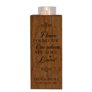 Personalized Engraved Wedding Vertical Candle Votive Holder Keepsake The One