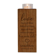 Personalized Engraved Wedding Vertical Candle Votive Holder Keepsake Love