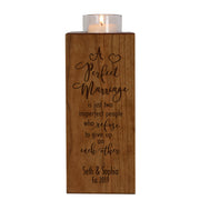 Personalized Engraved Wedding Vertical Candle Votive Holder Keepsake A Perfect Marriage