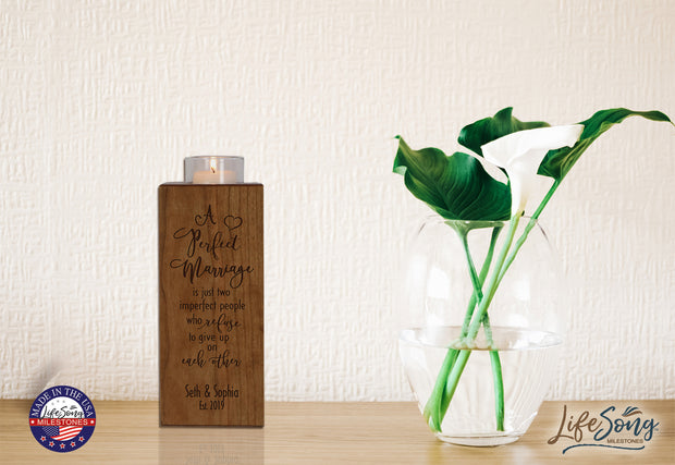 Personalized Engraved Wedding Vertical Candle Votive Holder Keepsake Promise