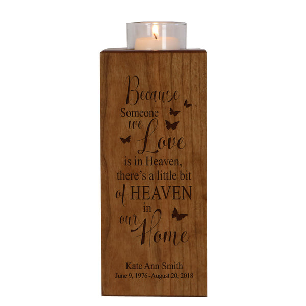 Personalized Memorial Candle Holder Funeral Gift - Because Someone
