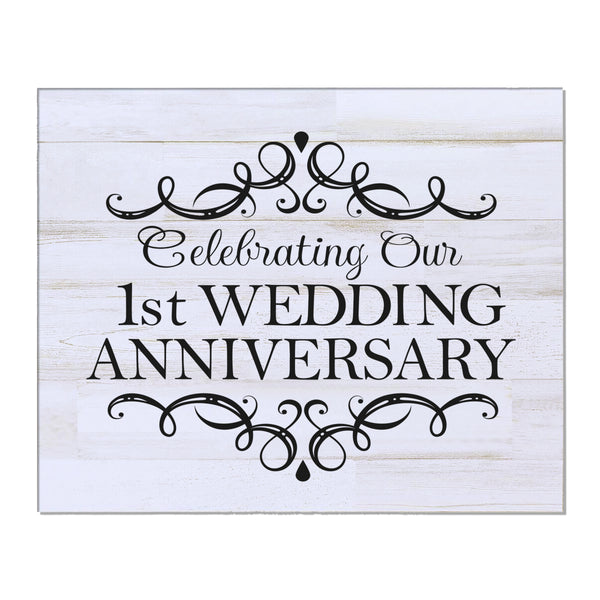 "LifeSong Milestones 1st Wedding Anniversary Gifts For Couple - First Year Celebration For Husband and Wife 8"" x 10"" Wall Plaque- 1 Year"
