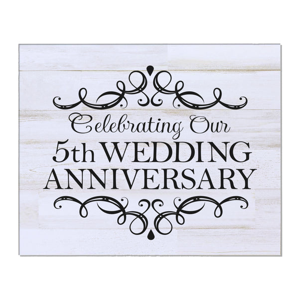 "LifeSong Milestones 5th Wedding Anniversary Gifts For Couple - First Year Celebration For Husband and Wife 8"" x 10"" Wall Plaque- 5 Year"