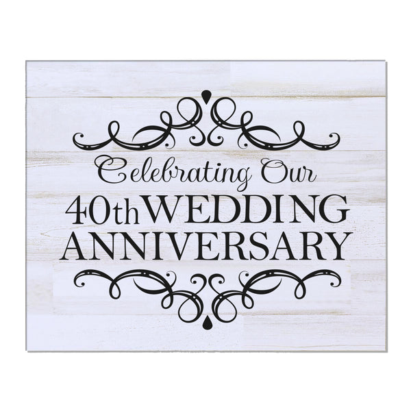 "LifeSong Milestones 40th Wedding Anniversary Gifts For Couple - First Year Celebration For Husband and Wife 8"" x 10"" Wall Plaque- 40 Year"