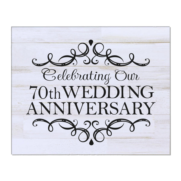 "LifeSong Milestones 70th Wedding Anniversary Gifts For Couple - First Year Celebration For Husband and Wife 8"" x 10"" Wall Plaque- 70 Year"