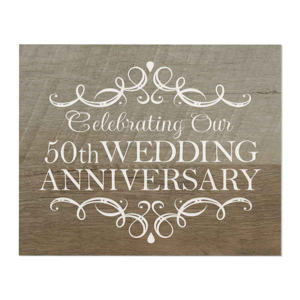 "LifeSong Milestones 50th Wedding Anniversary Gifts For Couple - First Year Celebration For Husband and Wife 8"" x 10"" Wall Plaque- 50 Year"