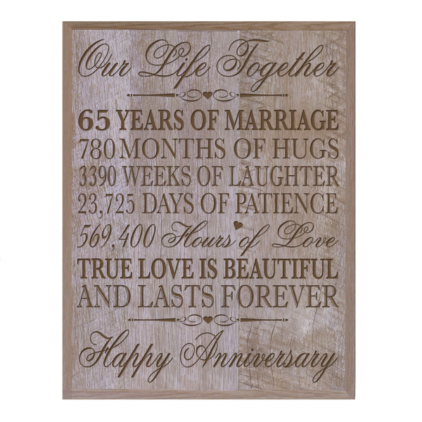 65th Wedding Anniversary Barnwood Wall Plaque - Our Life Together